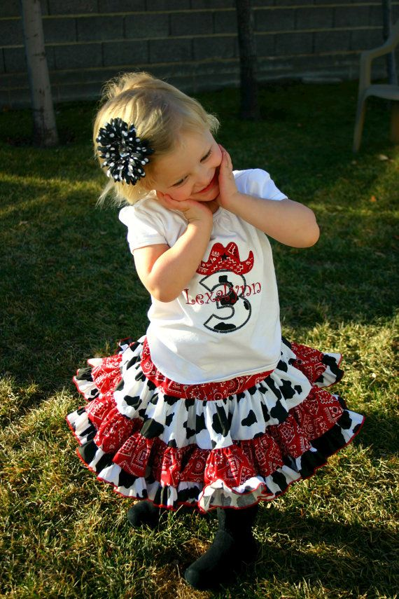 Ari's Angels Cowgirl Birthday outfit Monogrammed Personalized Shirt & Full Twirling Skirt