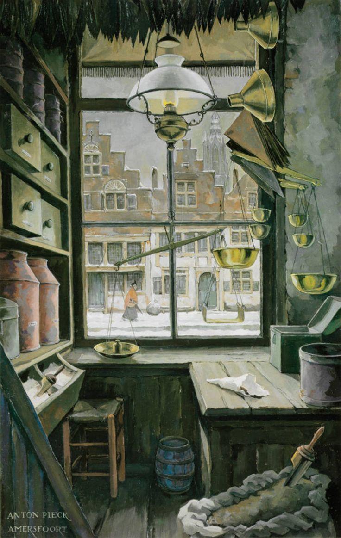 Anton Pieck (Dutch, 1895 – 1987)  ~  Oud winkeltje, olieverf