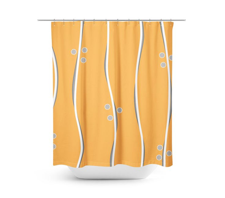 Stripes and Circles Orange Shower Curtain