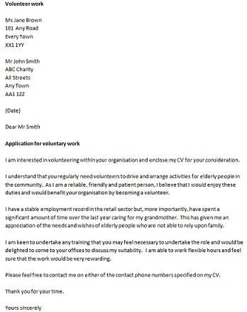 Image result for volunteer cover letter sample