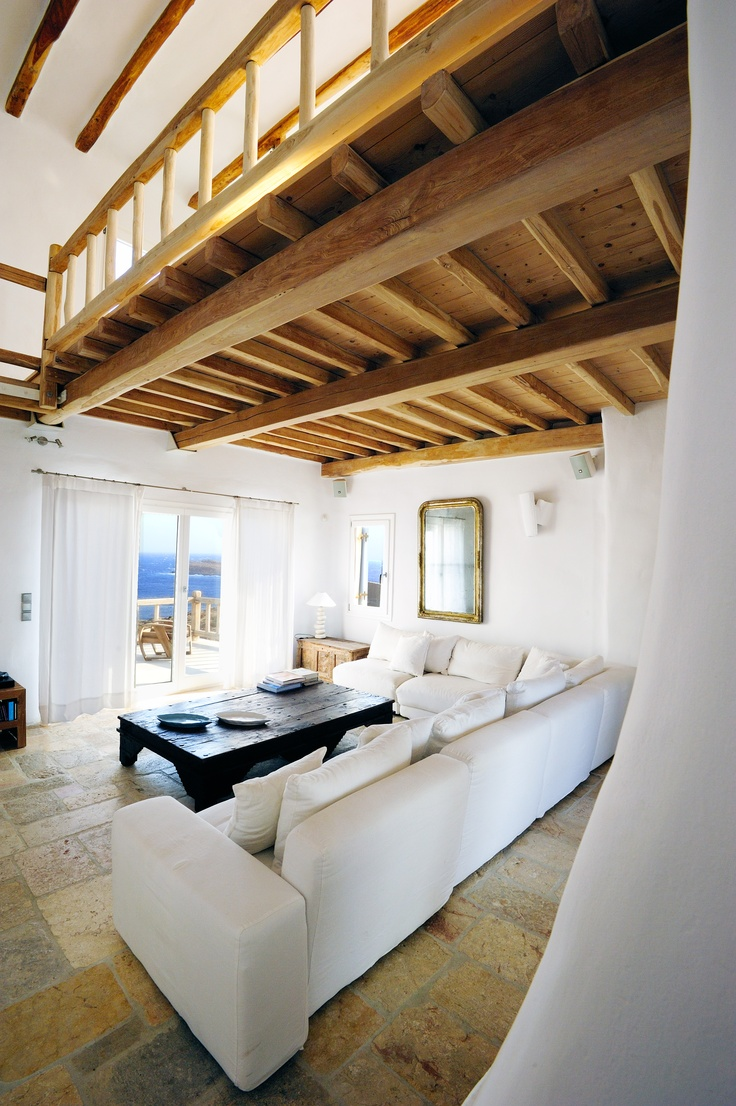 View of the living room in luxury villa Aesara in Mykonos, Greece