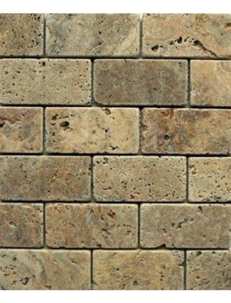 3x6 Tuscany Noce Travertine Brick Pattern Tumbled Finish Mosaic Tile #Tuscany_Noce_Travertine #Travertine_Brick #Travertine_Pattern