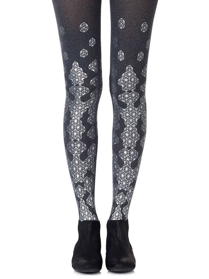 Queen Bee Silver Tights #Allover #Graphic #Heather-Grey