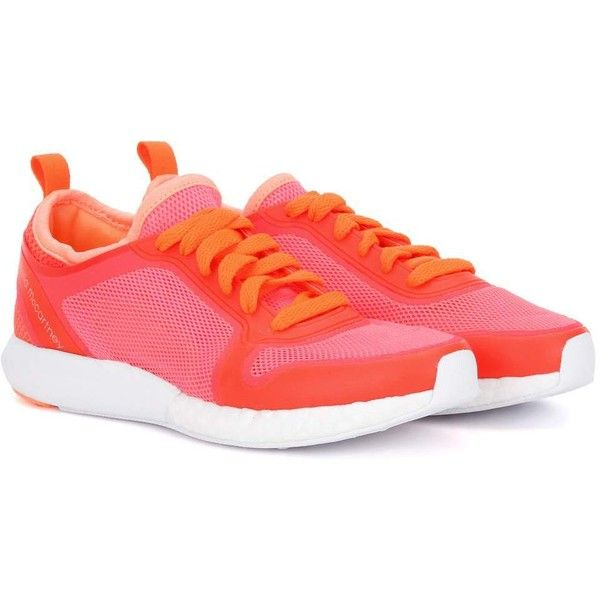 Adidas by Stella McCartney Climacool Sonic Sneakers ($170) ❤ liked on Polyvore featuring shoes, sneakers, pink, fluorescent shoes, adidas trainers, adidas, adidas shoes and neon shoes