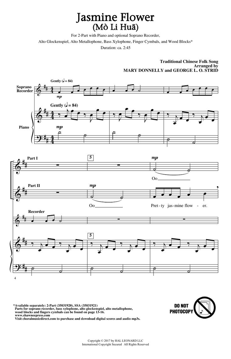 New piano sheet music on Modern Score : Mary Donnelly: Jasmine Flower (Mo Li Hua) - Partition 2 voix - 2,60€  Partition 2 voix
