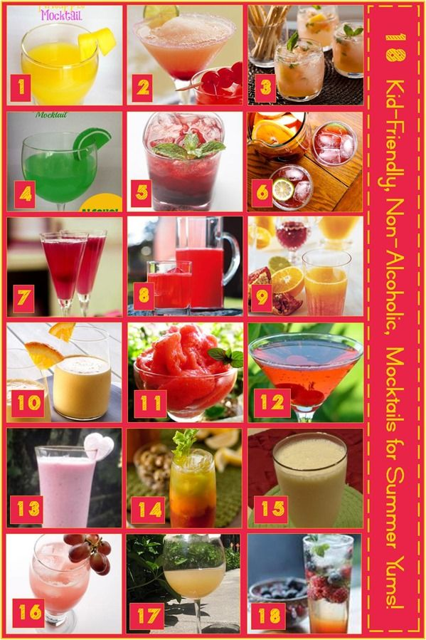 18 Mocktail Recipes ~ The entire family can enjoy these fun to make and fun to drink non-alcoholic cocktails.