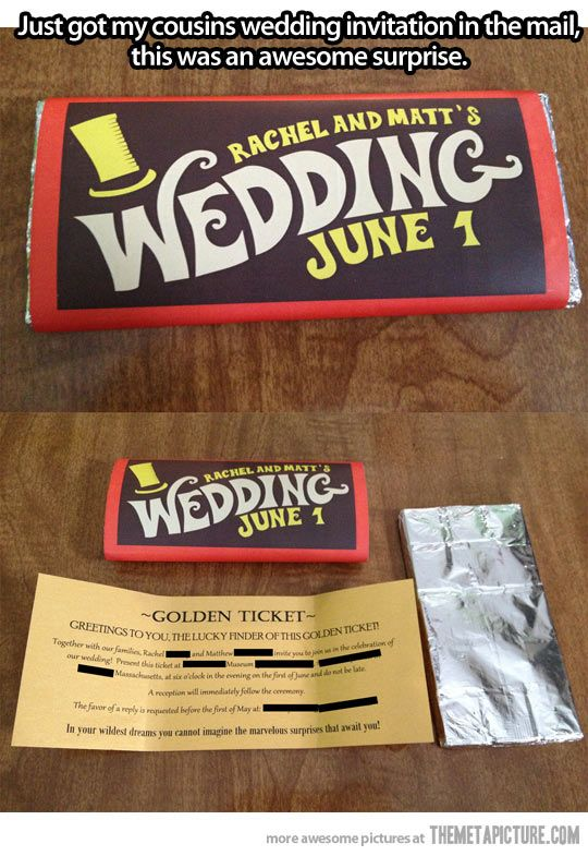 Willy Wonka Wedding Invitation! Imagine the wedding you could plan to go with this!!