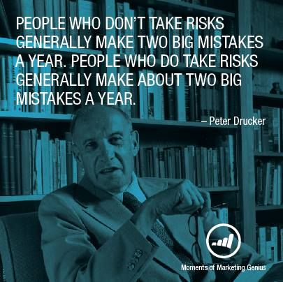 the risks people take That's completely the wrong way of thinking what i realized, a bit later than others, is that small risks are what causes your success to jump, not steady growth when you look at many of the successful people in the world, there situations got worse before they got better they took risks that caused their success to blossom.