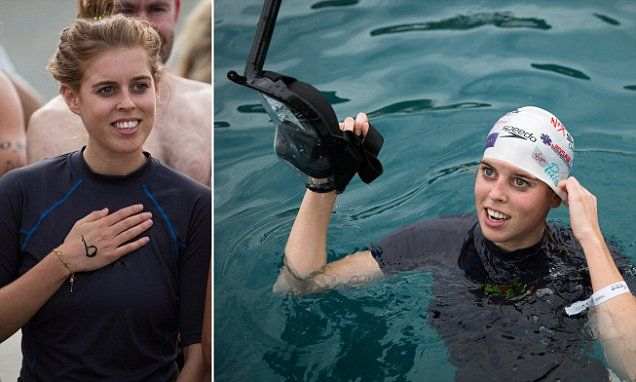 9/28/16*Princess Beatrice joins Richard Branson for a charity swim in Sicily