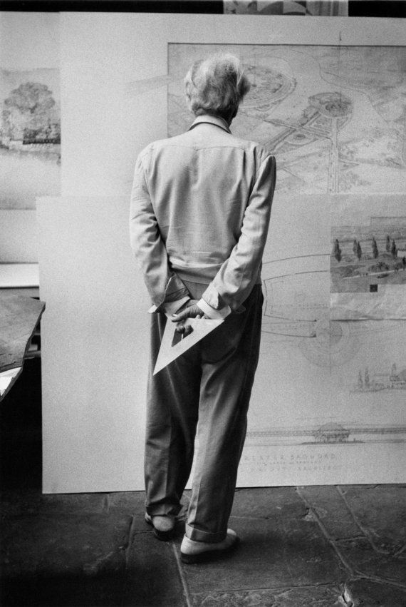 Frank Lloyd Wright with a drafting traingle by MarvinKonerArchive