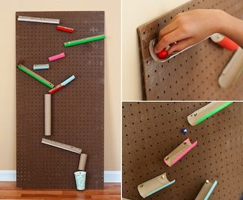 DIY marble run.  This is such a great idea!  Let the kids make it!