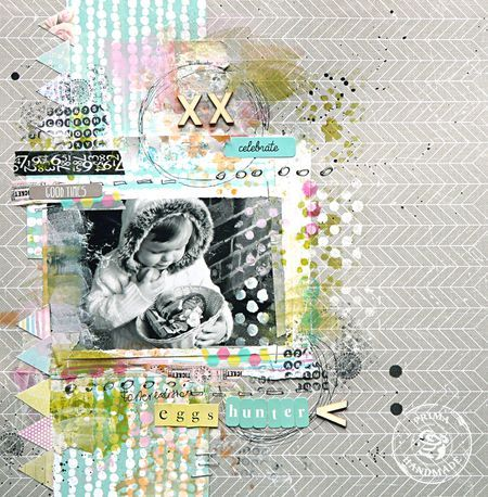Easter layout using LadyBird and Hello Pastel by Magda Bolinska for Prima!