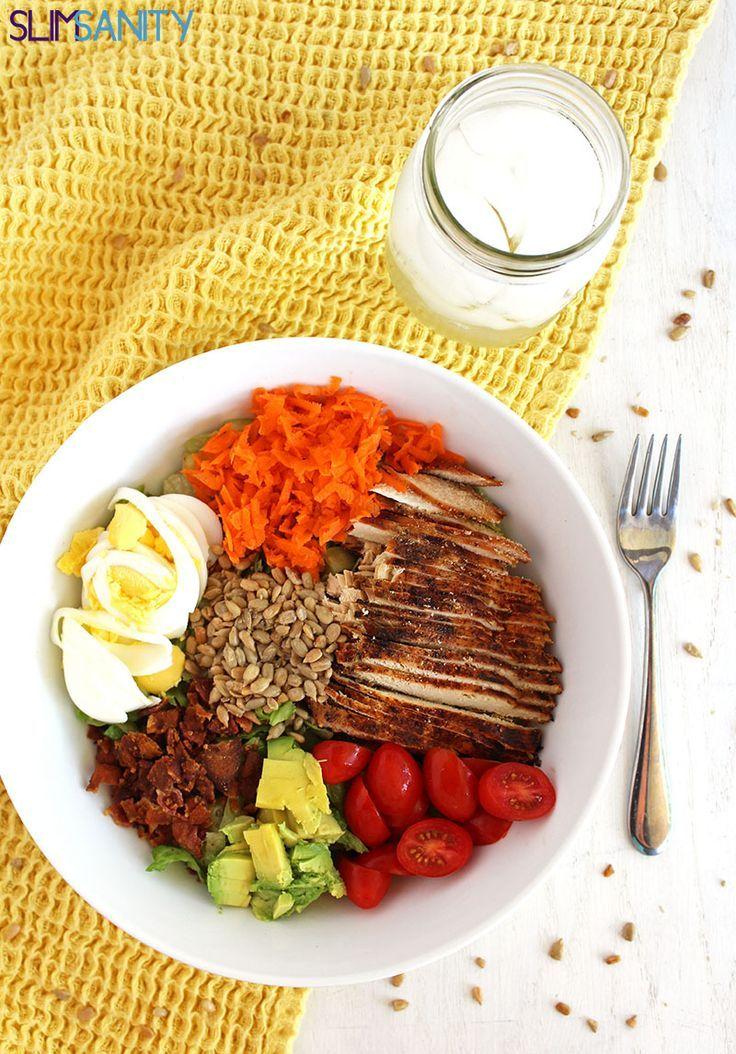 Paleo Chef Salad made with a White Balsamic Vinaigrette Dressing | slimsanity.com