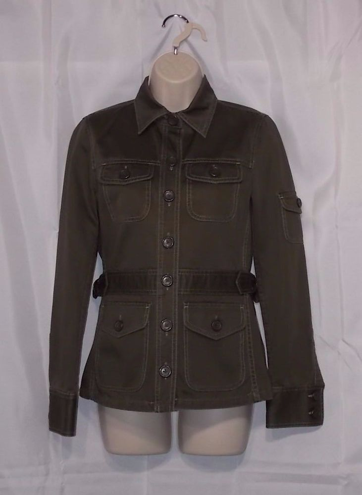 J CREW Olive Green Chino Military Jacket Women's XS Field Button Down LS 70218 #JCrew #Military