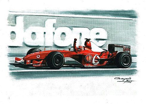 2003, Ferrari F2003-GA,  Michael Schumacher,  Rubens Barrichello,  Ferrari F1 collection ART by Artem Oleynik. This collection demonstrating Ferrari F1 racing cars since 1950 to 2016 and includes 96 pictures in oil on canvas. The size of each original picture is 25 x 35 cm.