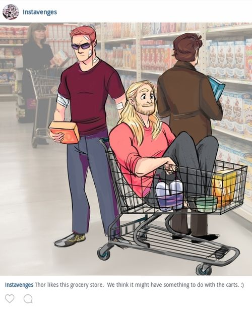 Clint, Thor and Bruce at the grocery store.