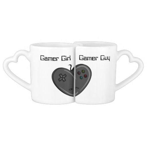 Gamer Girl & Guy Heart Shaped Controller Lovers Mug Set