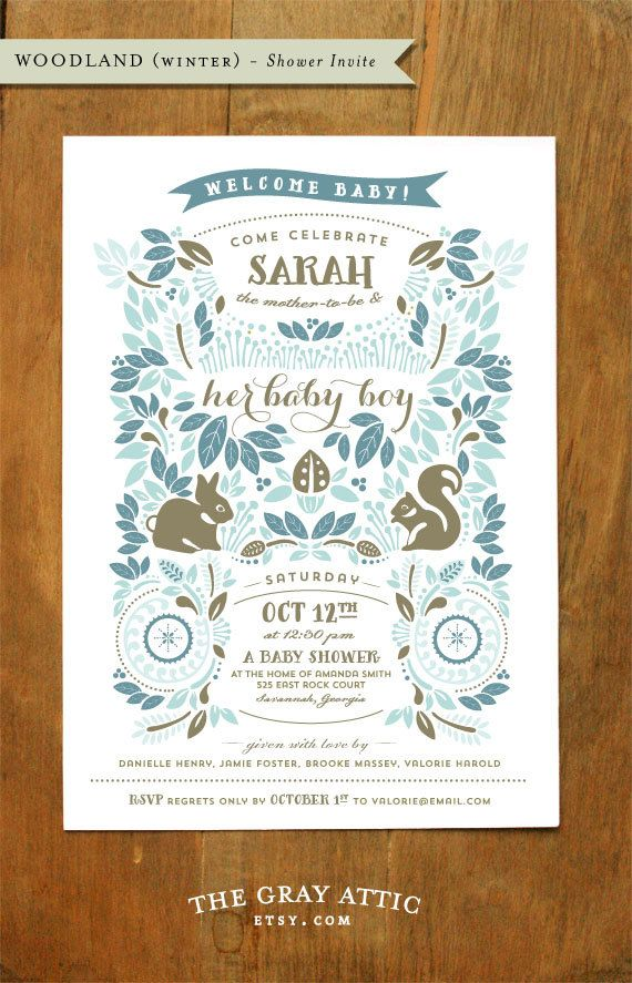 Woodland Winter Invitation  Blue Boy van TheGrayAttic op Etsy, $50.00
