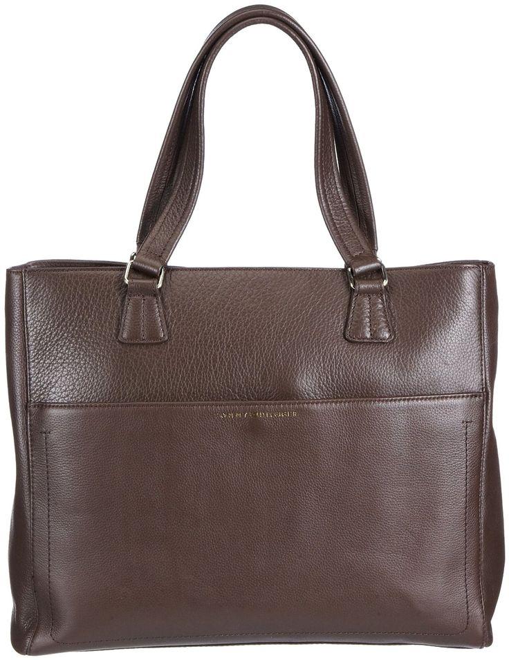 Tommy Hilfiger MAGGIE FASHION Damen Henkeltasche: Handtasche aus Leder in den Farben braun und schwarz zum Preis von 249,90 Euro