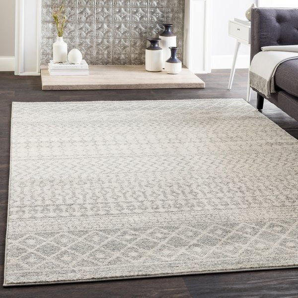 Leonard Geometric Gray White Area Rug Bohemian Area Rugs Cool