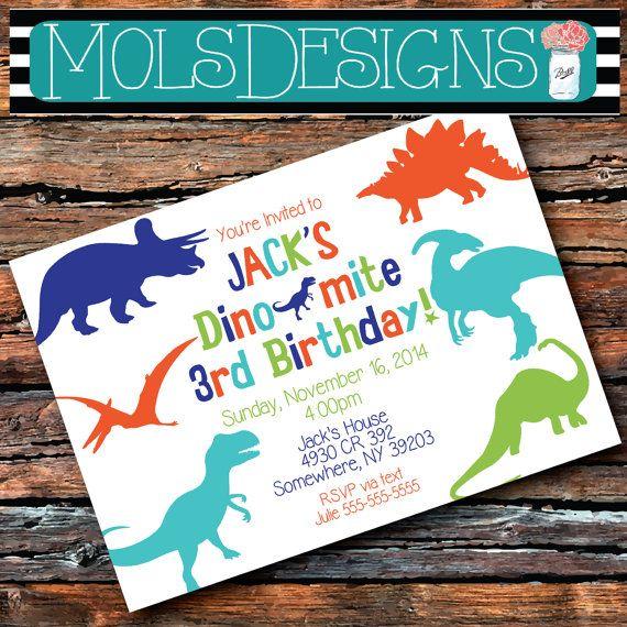 Printable Modern Dinosaur Birthday Invitation FREE Thank You Card - invitation to a party