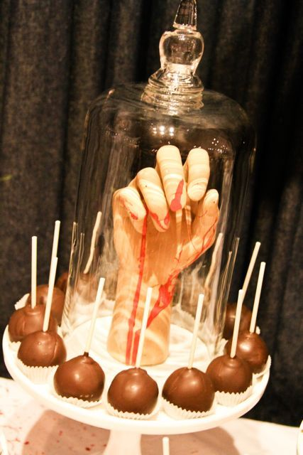 halloween dessert table could cut hole in middle and run my hand up thru to scare people