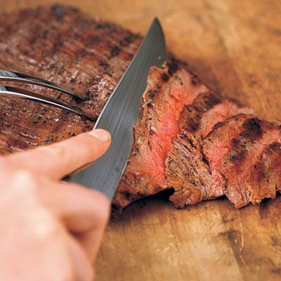 How to slice meat: For tender slices, look at the meat to determine the direction of the grain (the muscle fibers), and cut across the grain, not with it. This is particularly important with tougher cuts such as flank steak or skirt steak, in which the grain is also quite obvious. But it's also a good practice with more tender cuts like standing rib roast, or even poultry.
