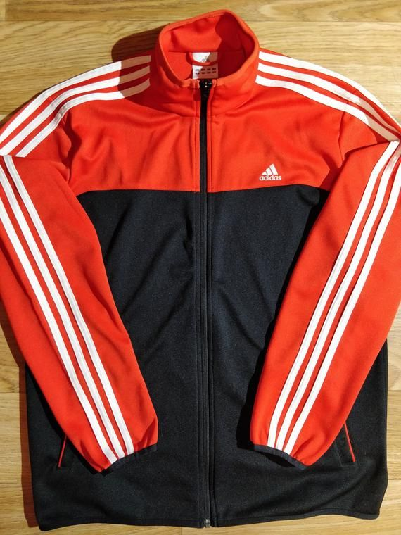 Adidas 90 S Vintage Mens Tracksuit Top Jacket Red Navy Blue Mens