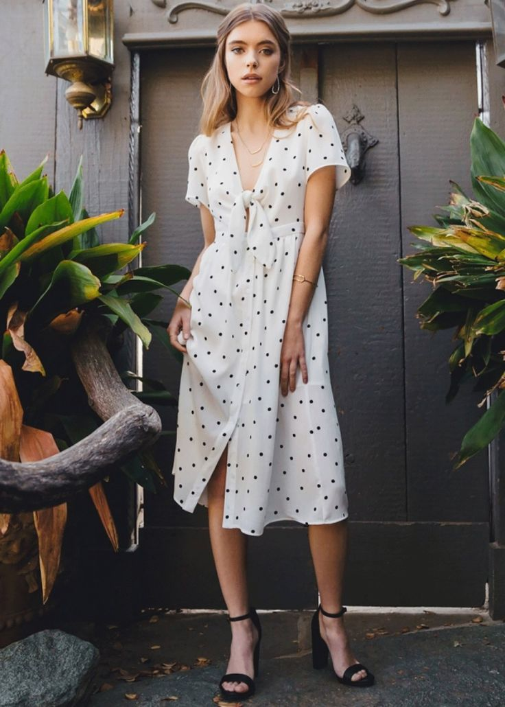 Sofia Polka Dot Midi Dress - White