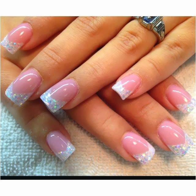 Acrylic-Nails-Nail-Art-Xmas-sculpted-French-pink-white-gel-nails-with multi holographic-reflector-flakes-nail art French manicure pedicure