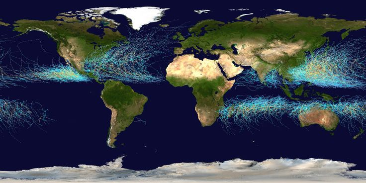 Hurricane tracks across the world