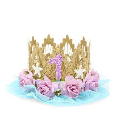 Another great find on #zulily! Gold & Lavender Mermaid Flower First Birthday Crown #zulilyfinds