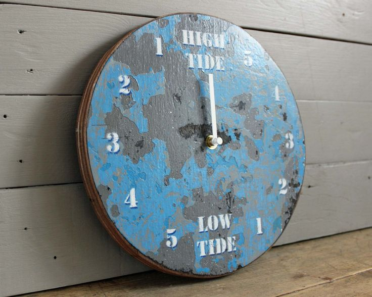 tide clock blue and white painted wall clocksgifts for for tide clocks cool clocks - Tide Clock