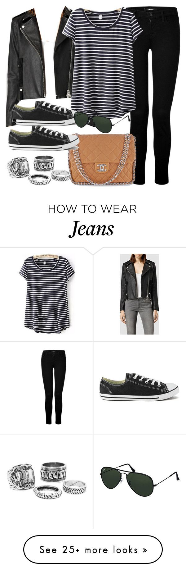 """Style #9322"" by vany-alvarado on Polyvore featuring AllSaints, Converse, J Brand, Chanel and Ray-Ban"