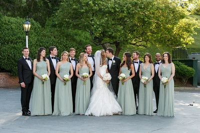 J Crew dusty shale bridesmaids dresses and tuxes from The Black Tux for a black tie wedding.