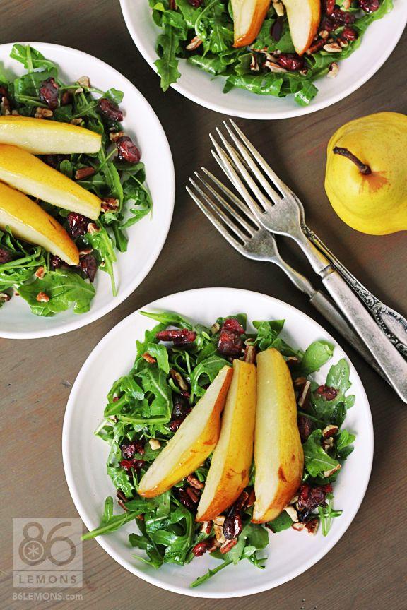 Roasted Pear & Arugula Salad (vegan, gf)  86lemons.com
