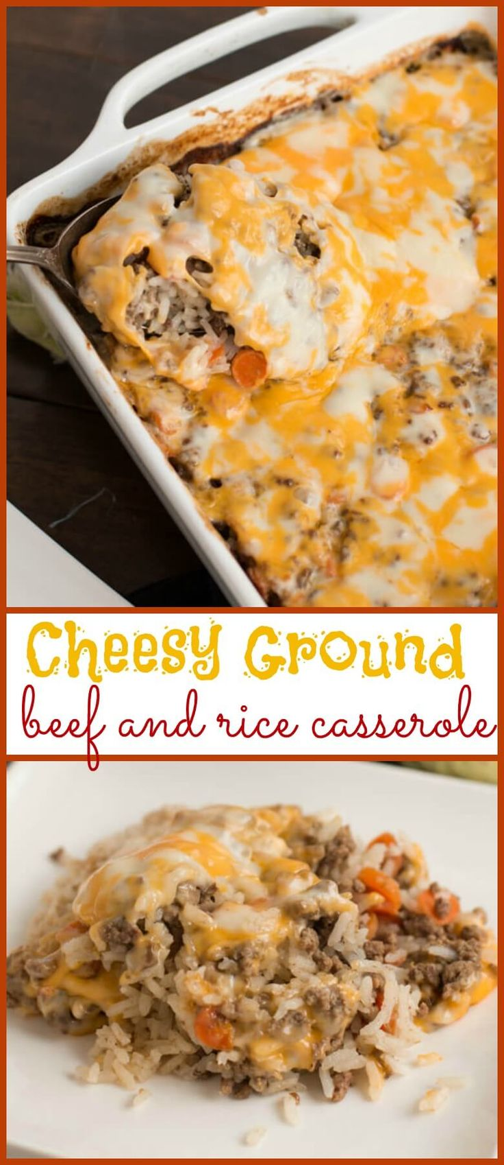 Cheesy Ground Beef and Rice Casserole via @ohsweetbasil