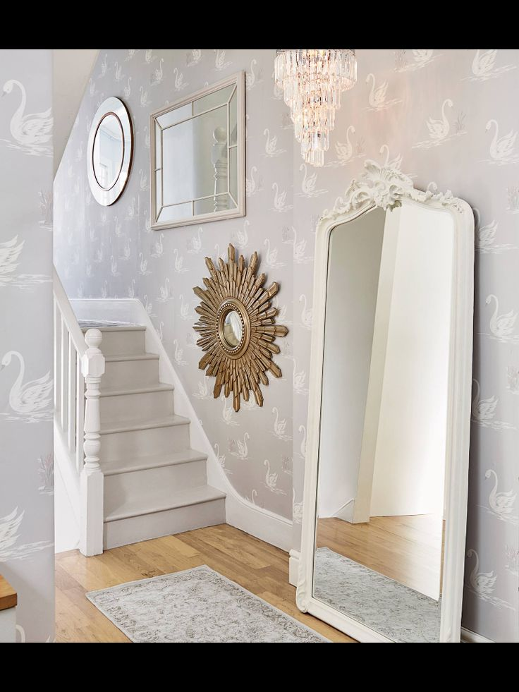 Grey And White Lounge Ideas Laura Ashley Swan Wallpaper Mirrors | Lily's Big Girl Room