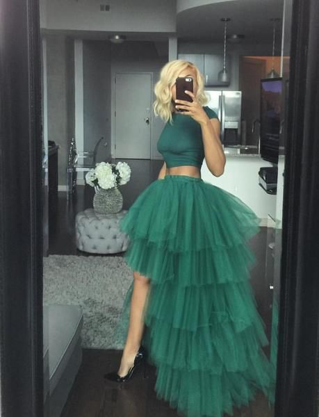 6075a229068c Oyemwen Tiered High Low Tulle Maxi Tutu Skirt with Elastic Waistband in  Green. Runs true to size. See sizing chart for details.