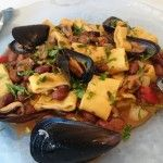 Calamarata home made con fagioli borlotti e cozze