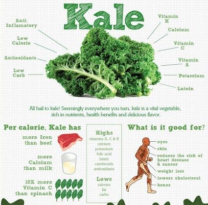 Kale is one of the most important greens you can include in your green smoothies.   One cup of chopped kale contains 33 calories and 9% of the daily value of calcium, 206% of vitamin A, 134% of vitamin C, and a whopping 684% of vitamin K. It is also a good source of minerals copper, potassium, iron, manganese, and phosphorus.  Kale's health benefits are primarily linked to the high concentration and excellent source of antioxidant vitamins A, C, and K -- and sulphur-containing…