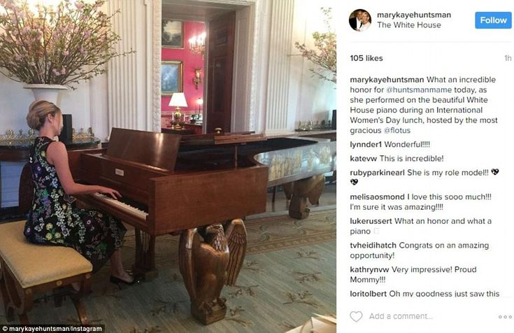 Mary Anne Huntsman (pictured), daughter of 2012 presidential candidate and former Utah Gov. Jon Huntsman - who just agreed to become the ambassador to Russia - was photographed playing piano at the lunch by her mother Mary Kaye