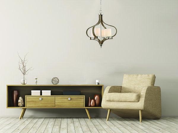 #46724-plnwf #Luminaire #suspendu 4 lumières de la collection #JASMINE de #Craftmade - Fini nickel brossé et bois - Diamètre 21,75″  -  4 X 60W