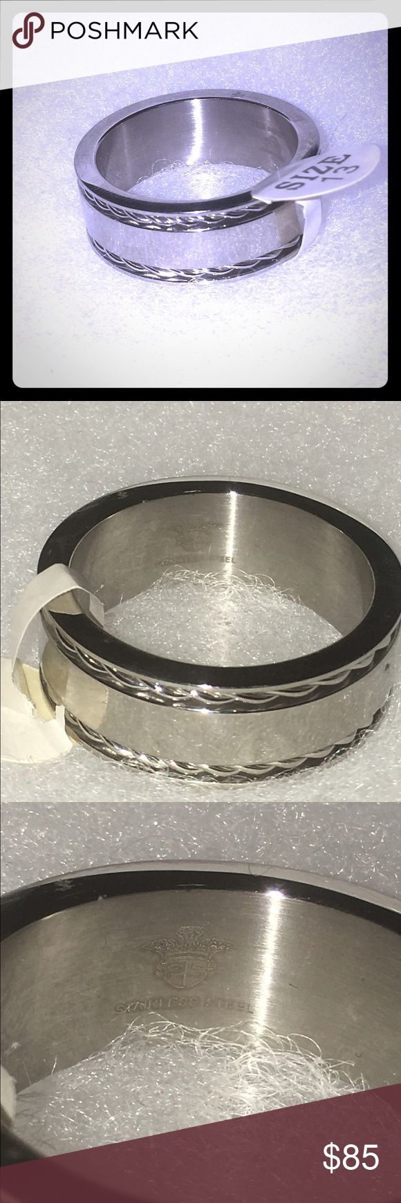 Nwt solid stainless steel men's ring size 13 Solid stainless steel men's size 13 very masculin,perfect for that special someone or even The perfect wedding ring! Stainless steel is high quality and very durable A forever type of ring, doesn't oxidize or taint overtime Accessories Jewelry