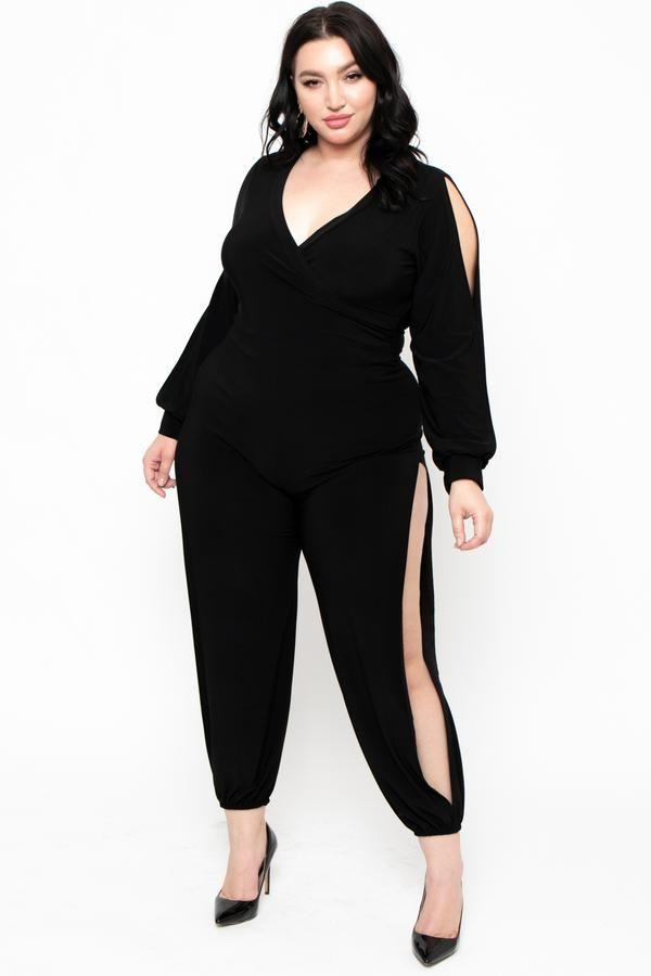 f284028457b Plus Size Genie Long Sleeve Jumpsuit - Black