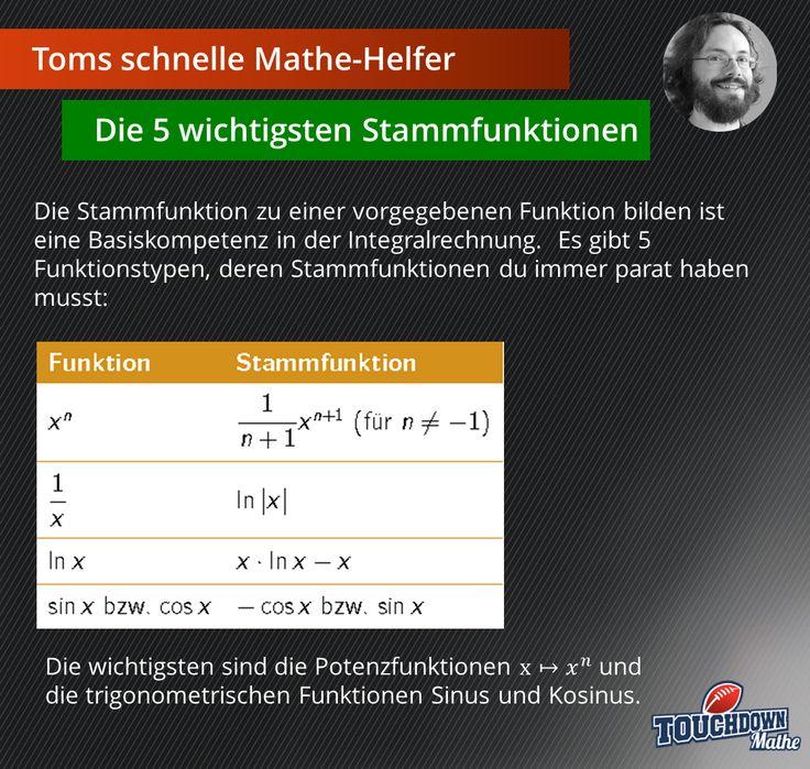 Toms schnelle Mathe-Helfer: Die 5 wichtigsten Stammfunktionen #TOUCHDOWNMathe #TomsschnelleMatheHelfer #Stammfunktion #fünfwichtigste #Abi #Abitur #Abiturvorbereitung #Mathe #Tipps #Merkhilfe #Integralrechnung #Oberstufe