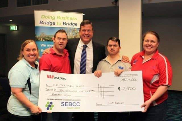 We presented a cheque of $2,500 to assist our yearly charity The Tertiary Place to help with activities and programs for adults with disabilities. We are so proud of all of our members donations and support!     Look who else we met at the South East Brisbane Chamber of Commerce (SEBCC) breakfast. Thank you Tim Nicholls for taking time to meet us.