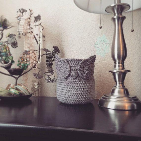 gray small chic handmade crochet owl basket home decor owl basket gray crochet owl basket owl nursery decor crochet storage bin by lapetitepetal on