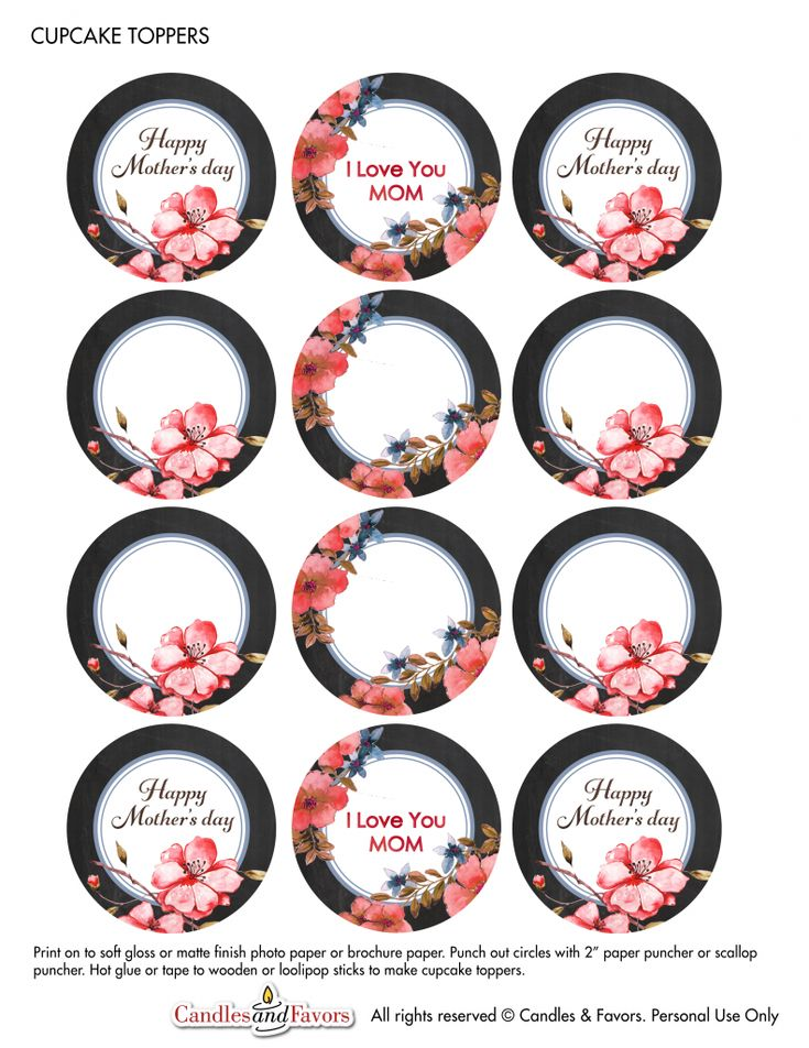 Free Mother's Day Printable. Cupcakes toppers or gift tags