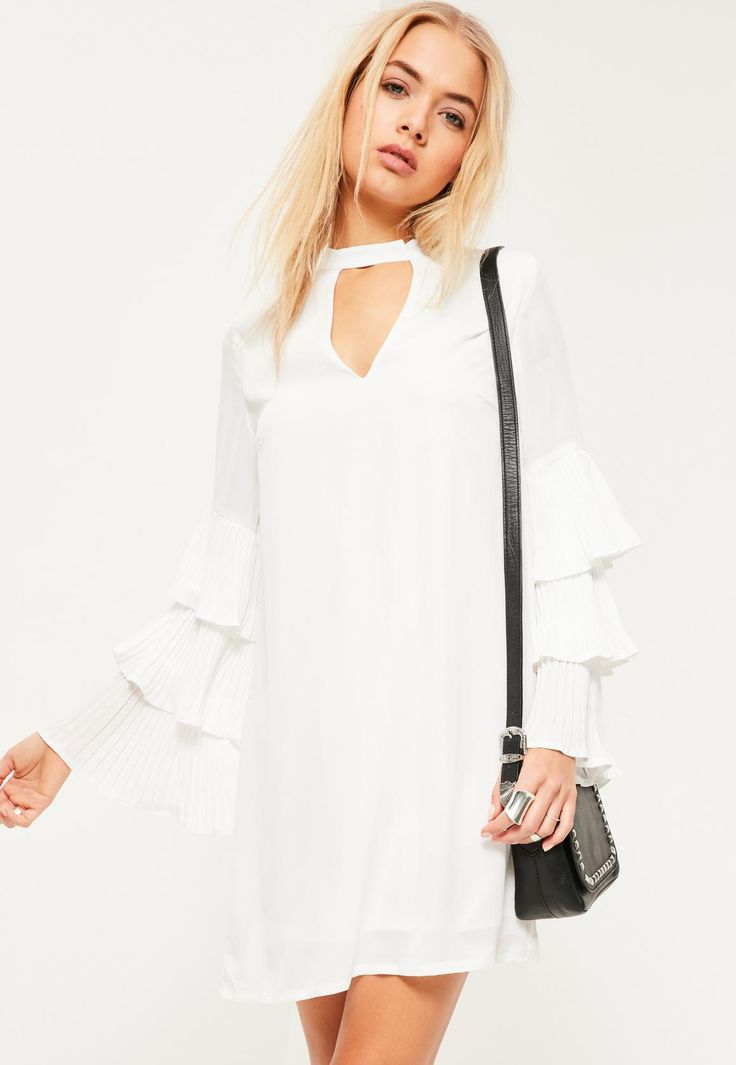 Missguided - White Pleated Ruffle Sleeve Choker Neck Shift Dress